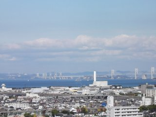 In the distance is the big bridge across the inland sea
