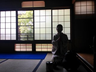 Light and shade at Camellia Tea Ceremony in Kyoto