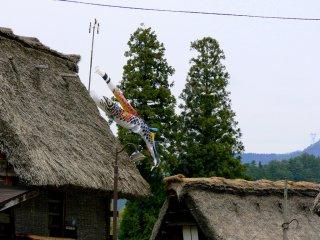 Pita terbang ikan mas untuk hari anak-anak, yang merupakan salah satu hari libur nasional dari minggu emas.