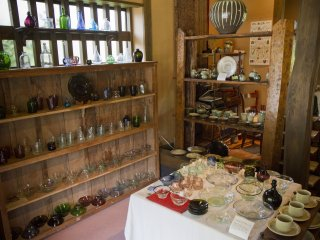 Interior of Akizuki, a beautiful shop near the visitor parking area specializing in fine pottery and glassware from Kyushu and all over Japan