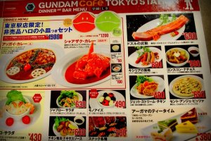 Menu please... Indulge in their fancy dishes with Gundam-inspired garnishes. Just by looking at the menu, you will enjoy their robotic-themed dishes.