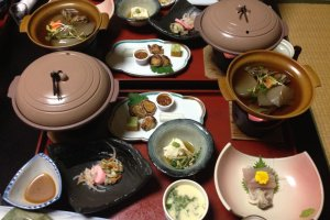 Beautiful fresh, local produce kaiseki dinner, with seasonal ingredients and beautifully presented.