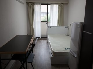 Rooms are funished with desks, a fridge and a balcony