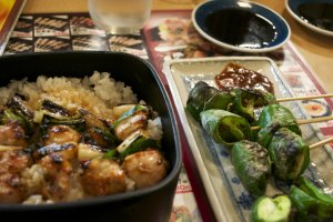 Yakitori served with rice and green peppers with miso