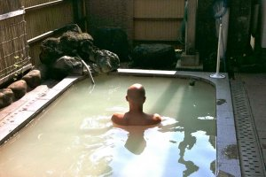 Private outdoor onsen at Fuji Hakone Guest House