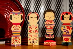 The Kokeshi Dolls are watching over you at the Hosomi Museum shop