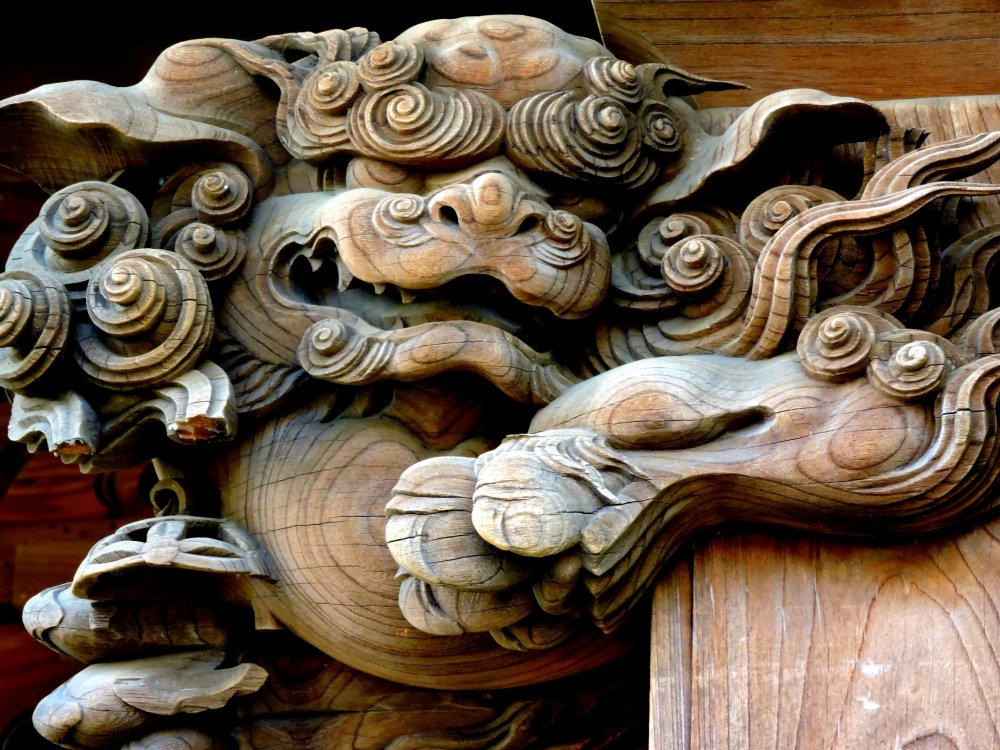 Beautifully carved shishi - a mythical animal with protective powers