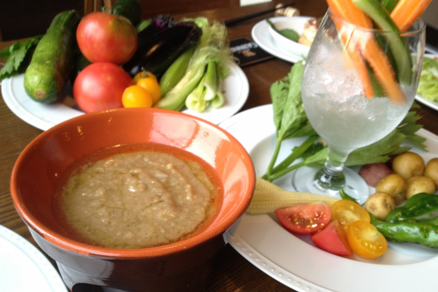 Seasonal vegetables are blended together to make this exquisite bagna cauda (dip made from garlic, anchovies and oil).