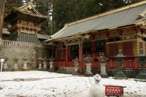 Enjoying the snow at Tosho-gu, part of Nikko's UNESCO World Heritage complex of shrines and temples