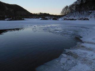 A partially frozen Lake Shoji