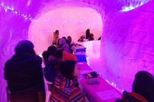 Bar inside a kamakura (igloo) where you drink from cups made of ice