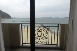A view of the beach from the Hotel Resort Mihagi