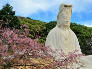 En plus de cette statue de Kannon, le site abrite un monument dédié aux soldats inconnus, un sanctuaire, un mausolée et bien plus encore