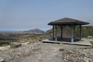 The first pavilion on the trail, at the top of the cement staircase that leads from the parking lot