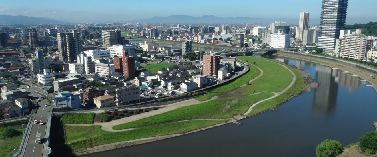 View of Kumamoto's Shirakawa river from the rooms of the ANA New Sky Hotel