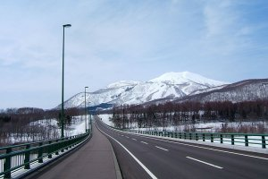 A view of the snowy peaks near Niseko