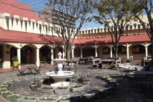 The courtyard for outdoor eating, drinking, singing and dancing