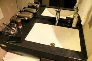 Amenities in your room include a hair dryer, soap, toothbrush, toothpaste and a small fridge