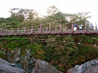 The 43m suspension bridge at a height of 23m at the Kadowakizaki Point