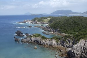 A view of the secluded beaches and coves