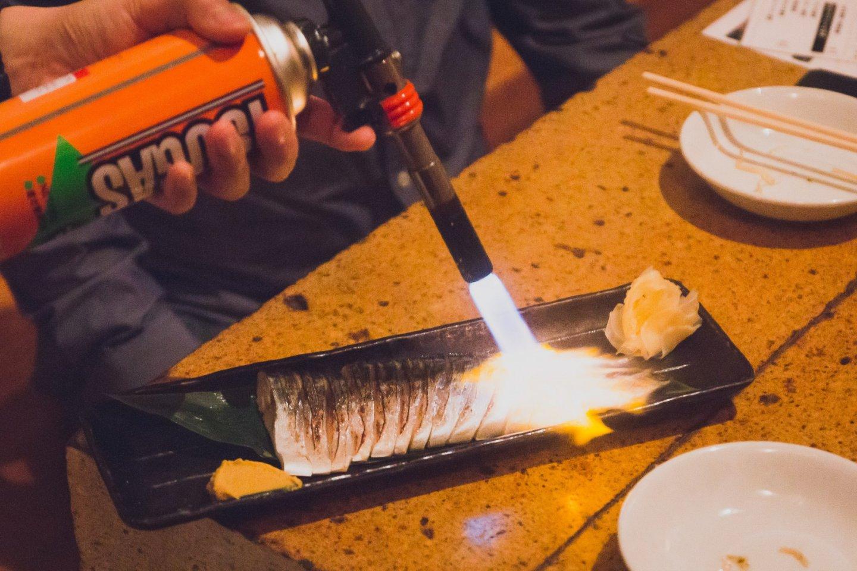 Flame grilled mackerel