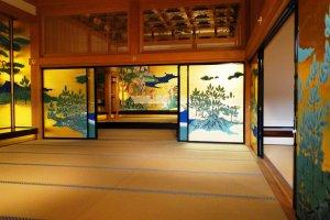 Beautifully restored screens in the Honmaru Goten palace of Kumamoto Castle
