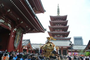 Great spot to view the pagoda and the mikoshi