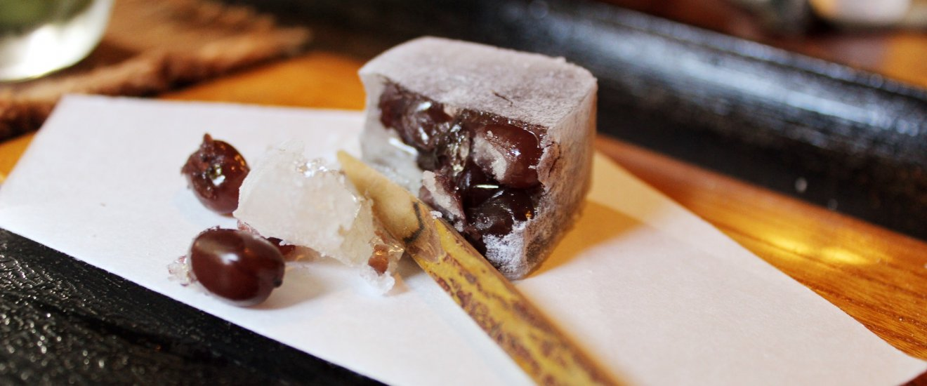 Traditional Japanese sweets with black beans