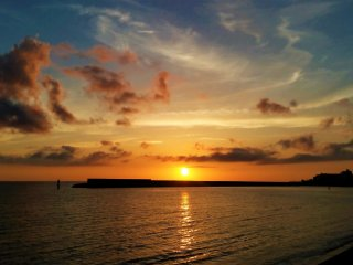 Okinawans look forward to this magnificent sunset