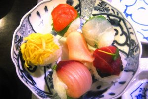 Handmade sushi balls at Roujiya cooking class in Nijo, Kyoto