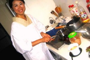 Kaori showing each recipe step by step including tasting and feeling the raw ingredients