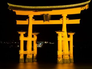 The illuminated gate at night. Make sure you spend a night on the island to see this!