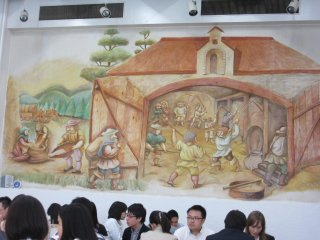 Wall painting in the hall shows the history as originally beer came to Japan from Czech Republic