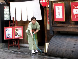 Morning cleaning in Kyoto