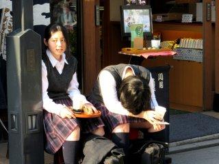 Schoolgirls having a break