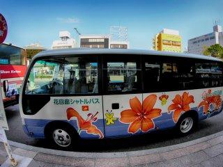 Bus antar jemput gratis dari Stasiun Yanago ke taman bunga