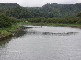 Certains font du paddle sur la rivière