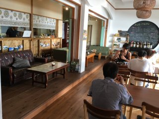 The lobby, cafe, and common area