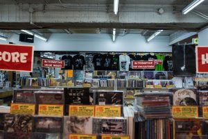 Merch, CD's, casette tapes and records fill every inch of this underground paradise