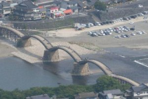 Aerial view of the bridge from Iwakuni Castle's observation deck.