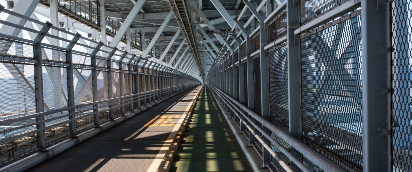 Innoshima Bridge was opened in 1983 and has beautiful geometric patterns