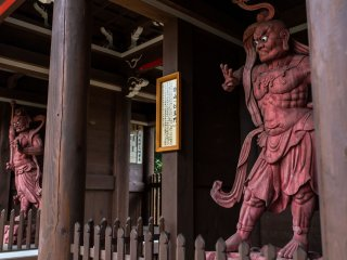 The Niomon Gate that guards the Daisho-in Temple. These Nio kings are said to keep evil out and preserve Buddhist practices