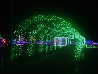 Tunnel of green lights