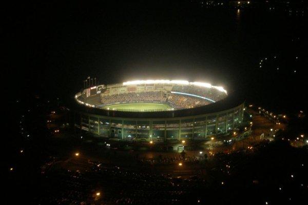 The stadium lit up at night