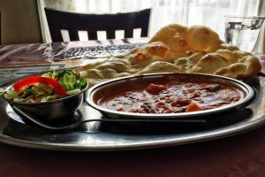 A very reasonably priced lunch set, with perfectly spiced curry with freshly prepared vegetables