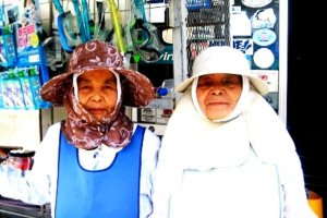 These old ladies have been working forever at Aharen Beach Tokashiki-son Island Okinawa
