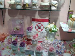 A selection of sweet treats that are too good to eat, at Lumine department store. I think these are hair pieces actually...