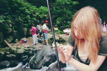Fishing at a Waterfall in Itoshima, Fukuoka