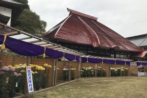 The Bishamondo Temple is a charming spot to visit year round