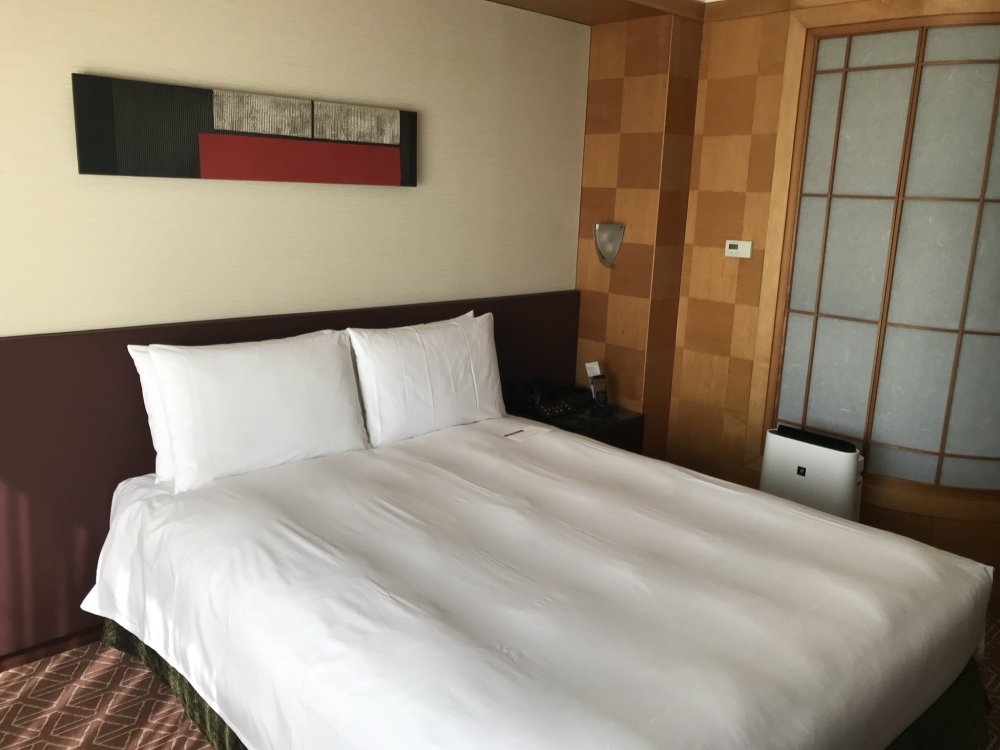 The bed is comfortable and the room is modern